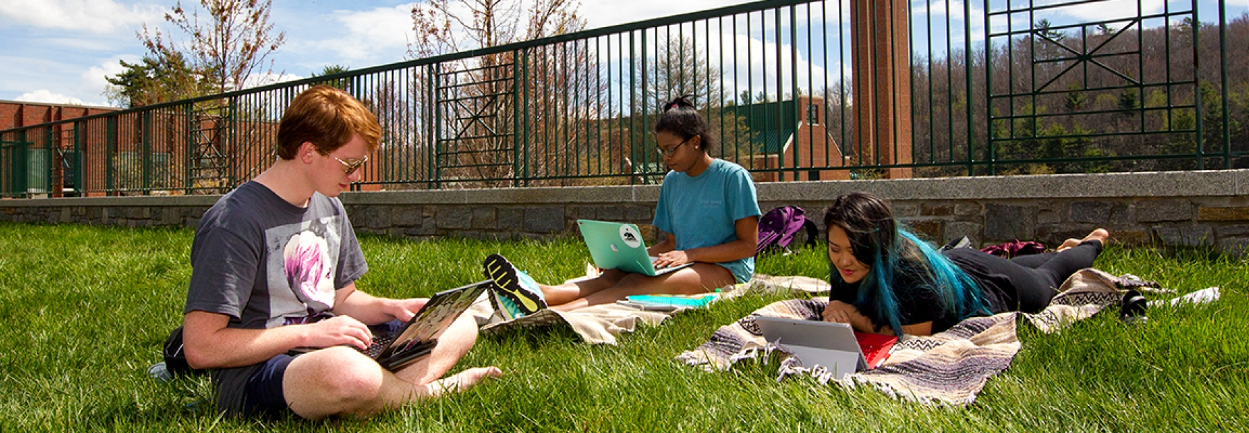 ASU students studying outside on grass