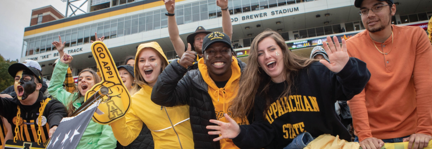 Excited students at App State home football game.
