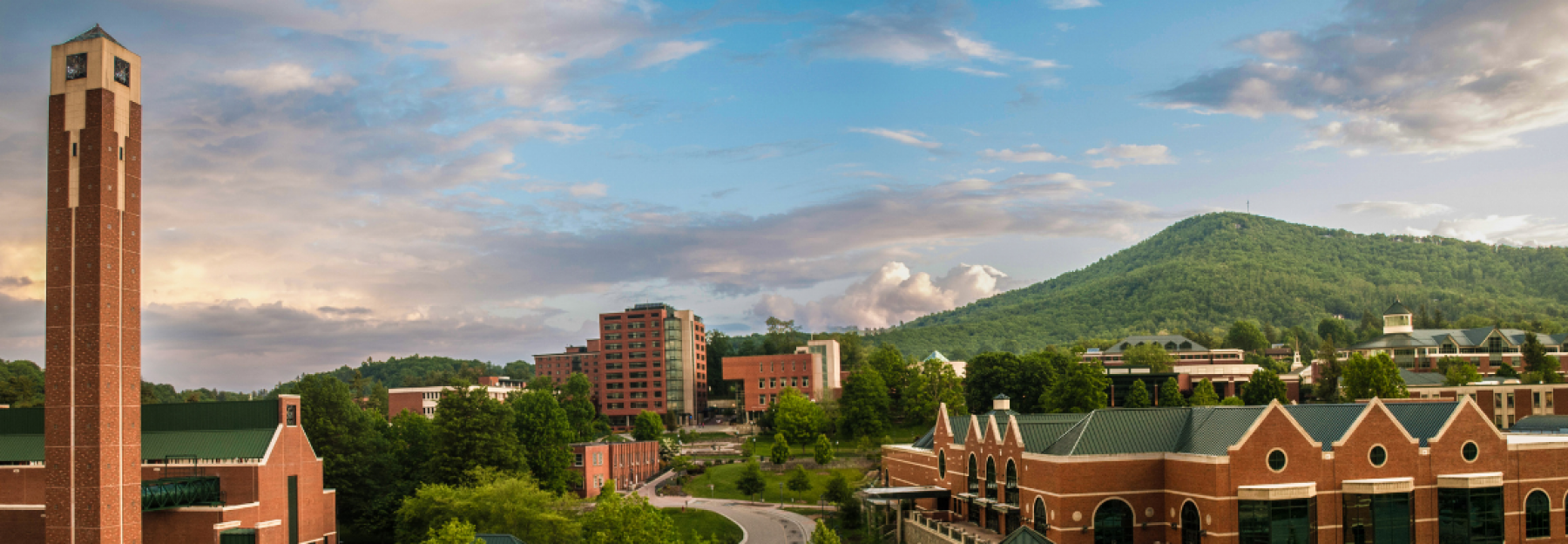 Campus scenic looking towards the bell tower in the spring