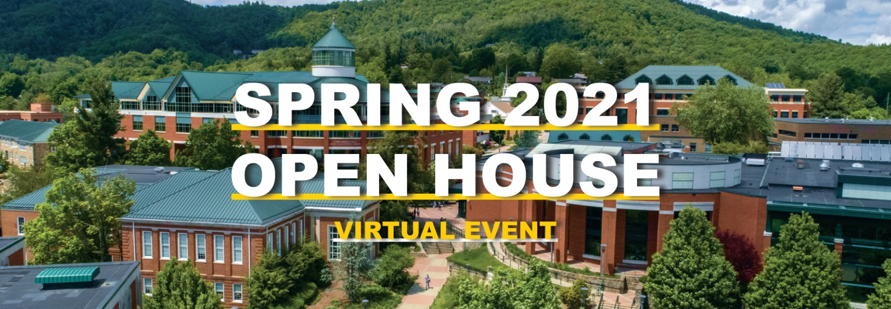 graphic of spring virtual open house over a spring campus image